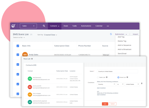 contact management in engagebay crm